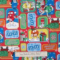 Christmas Fabric - M&M Candy Holiday Blocks Red Green - Springs Cotton YARD
