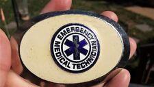 "EMT Belt Buckle Oval Emergency Medical Technician 3.75"" x 2.5"" Ivory Silver"