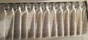 Niello 875 Russian Silver Spoon Set of 12