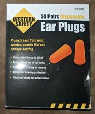 New Western Safety Disposable Ear Plugs 50 Pairs Individually Wrapped 29 Decibel