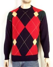 vtg 70s 80s John Ashford soft 100% Pure Lambswool Argyle Sweater Crew sz M