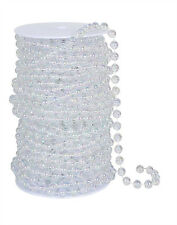 10 MM Iridescent Clear Round Pearl Beads Spool -- Roll of Beads 22 Yards