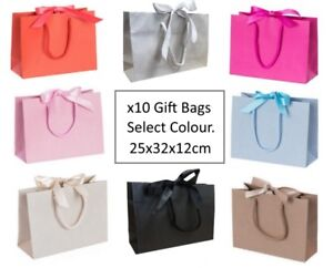 10 Medium Ribbon Tie Bow Gift Bags / Luxury Party Events Table Favour Bag