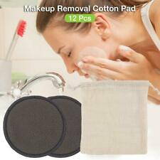 12PCS Makeup Removal Cotton Pad Reusable Bamboo Fiber Washable Rounds Pads for F