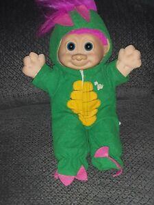 "12"" RUSS Troll Doll Dragon Dinosaur Lime Hair Pink Blue Outfit Blue Eyes"