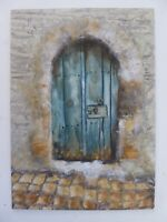 Tuscany Italy Original Oil Painting Of Ancient Door By Artist Christine Ingram