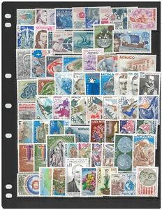 Monaco 100 Different Stamps All Mint Unhinged In Glassine Bag