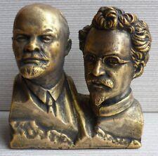 ORIGINAL Soviet Russian liders TROTSKY & LENIN bust statue H-11,5 cm