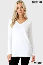 Womens T Shirt V Neck Long Sleeve Zenana Cotton Stretch Top S/M/L/XL