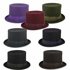 100% Wool Top Hat with Grosgrain Band Handmade in Italy