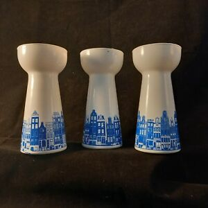 3 X white GLASS HYACINTH BULB VASES DUTCH HOUSE SCENE BLUE WHITE free p&p
