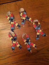 25 Autism ASD awareness PUZZLE PIECE QUALITY ribbons badges GOLD COLOUR PINS