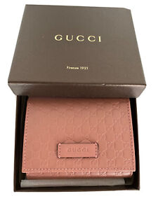 NIB Gucci Pink Leather Micro GG Guccissima Card Case Bifold Small Wallet IT