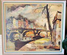 Mid Century Modern Wall Art  Paris Cityscape Artist Foss Framed Print on Board