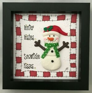 Christmas Gift Present 3D Framed Picture Winter Wishes Snowflake Kisses Red