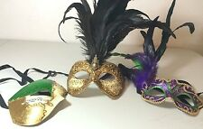 Venetian Masquerade Half Face Mask Lot of 3 Costume Feather Harlequin Prom