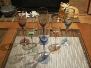 SET OF 6 HARLEQUIN LONG STEMMED CHAMPAGNE GLASSES