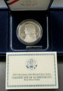2005 JOHN MARSHALL Commemorative Proof Silver Dollar Coin OGP COA