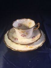 RARE VICTORIAN CHINA TEA TRIO EMBOSSED AND HEAVILY GILDED - POPPIES