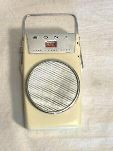 Vintage SONY 5 Transistor 9v POCKET AM RADIO Ivory White TR-510 TESTED WORKS!