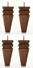 """6"""" Carved Squared Walnut Tapered Pyramid Sofa/Couch/Chair Wood Legs - Set of 4"""