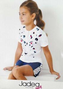 Pigiama Bambina Jadea Girl Cotone Manica Corta Serafino 2 Bottoni Bianco Grigio
