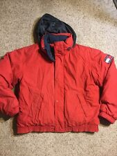 Mens Vtg Tommy Hilfiger Puffer Down Jacket Ski Coat Colorblock Flag Spellout XL