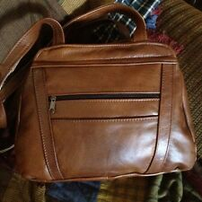 Multipocket GENUINE Leather Purse Handbag Shoulder Bag Mexican Made - RICO BROWN