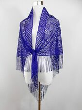 Womens Vintage Retro 70 s puprle Lace Fringe Tassel Boho Hippy Long Scarf Foulard bj51