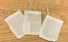 "3 Small Reusable Cotton Drawstring Tea Infuser bags (3"" x 4'')"