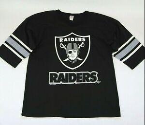 Vintage 90s 1995 Oakland Raiders Raglan Long Sleeve Shirt XL Black GTS Tag USA