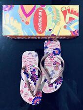 Girls Havaianas Sand /gray Patterned Slip-on Flip Flops Size 4/6