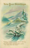 DB Postcard E454 Embossed New Year Greetings Blue Snow Covered Cottage 1918 Post