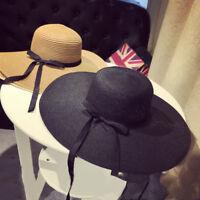 Women Society Floppy Wide Brim Straw Hat Wedding Sun Beach Anti UV Protection