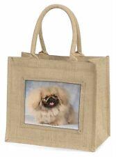 Pekingese Dog Large Natural Jute Shopping Bag Christmas Gift Idea, AD-PK3BLN