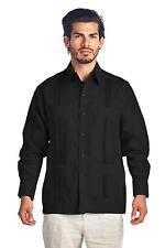 Vkwear Men's Cuban Beach Long Sleeve Linen Guayabera Shirt 4xl Black
