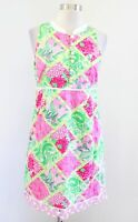 Lilly Pulitzer Jubilee Pink Green Multi Bam Patch Floral Print Dress Sz 4 Eyelet