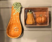 Celebrate Fall Together Pumpkin / Gourd Salt & Pepper Shaker and Spoon Rest NEW