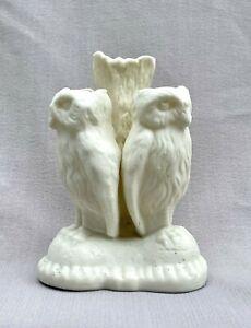 Antique 19 Century Parian Ware Bisque Spill Vase w/ Owls