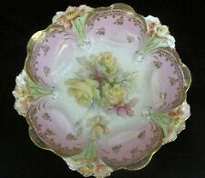 Vintage Hand Painted Pink Floral Bowl with Gold Beading Bowl