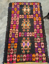 Vintage black Moroccan berber Rug 142 x 84 cm