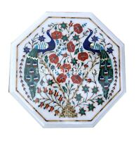 """12"""" Marble Coffee Table Top Multi Stone Floral & Peacock Inlay Garden Decor W547"""