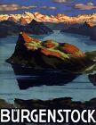 "Vintage Illustrated Travel Poster CANVAS PRINT Burgenstock Switzerland 8""X 10"""