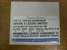20/11/1993 Ticket: Tottenham Hotspur v Leeds United  (slight tear to corner). Th