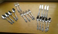 F B Rogers FBR13 Pierced Stainless Flatware 19Pc Japan Knives, Forks, Spoons