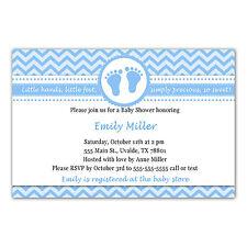 30 Invitations Baby Boy Shower Feet Chevron Blue Invite Personalized Card A1