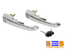 VW T2 TRANSPORTER CAMPER VAN FRONT CHROME DOOR HANDLES PAIR A1141