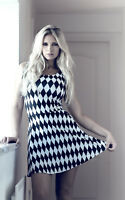 Women's Monochrome Harlequin Diamonds Vintage Rockabilly Skater Dress Halloween