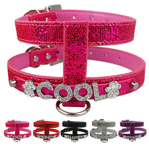 Personalized PU Leather Dog Pet Harness Free Name with Rhinestone Letters S/M/L