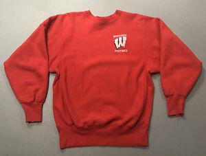 VTG 90s Champion Reverse Weave Wisconsin Badgers Football Sweatshirt Sz L Large